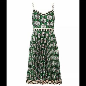Milly Green Women's Size 0 Floral  Pleated Dress